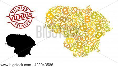 Grunge Vilnius Stamp Seal, And Finance Mosaic Map Of Lithuania. Red Round Stamp Seal Includes Vilniu