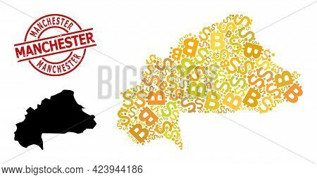 Textured Manchester Stamp, And Finance Collage Map Of Burkina Faso. Red Round Stamp Includes Manches