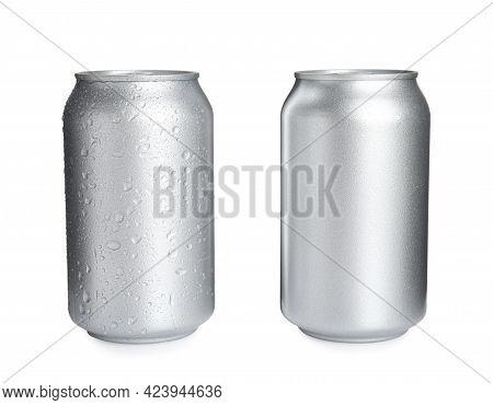 Aluminium Cans Of Beverage On White Background