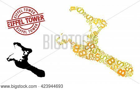 Rubber Eiffel Tower Stamp Seal, And Bank Mosaic Map Of Kiribati Island. Red Round Stamp Seal Has Eif
