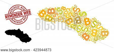 Distress Reminder Web Stamp Seal, And Banking Mosaic Map Of Sumba Island. Red Round Stamp Includes R