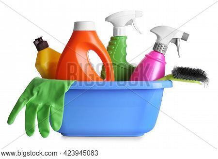Plastic Basin With Cleaning Supplies Isolated On White