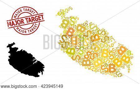Distress Major Target Seal, And Money Mosaic Map Of Malta Island. Red Round Badge Contains Major Tar