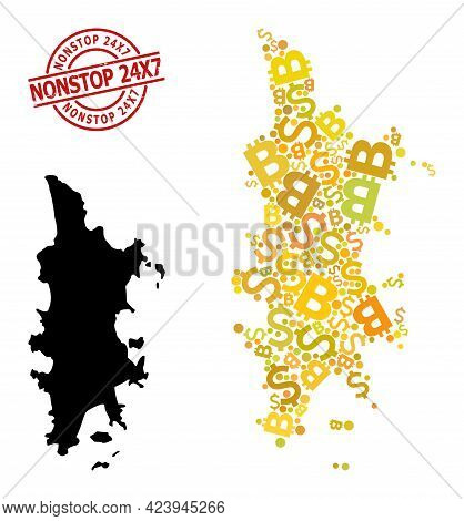Grunge Nonstop 24x7 Stamp, And Finance Mosaic Map Of Phuket. Red Round Stamp Seal Contains Nonstop 2