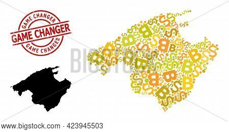 Grunge Game Changer Stamp Seal, And Money Collage Map Of Majorca. Red Round Stamp Seal Contains Game