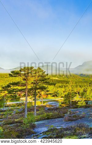 Morning Sunrise Fog Clouds And Mountains Nature Landscape Nissedal Norway.