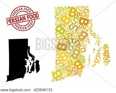 Grunge Persian Food Stamp Seal, And Banking Mosaic Map Of Rhode Island State. Red Round Stamp Includ