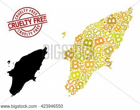 Distress Cruelty Free Stamp Seal, And Bank Mosaic Map Of Rhodes Island. Red Round Stamp Includes Cru