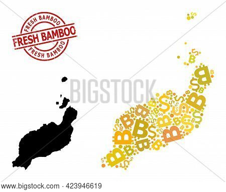 Distress Fresh Bamboo Badge, And Money Collage Map Of Lanzarote Islands. Red Round Badge Has Fresh B