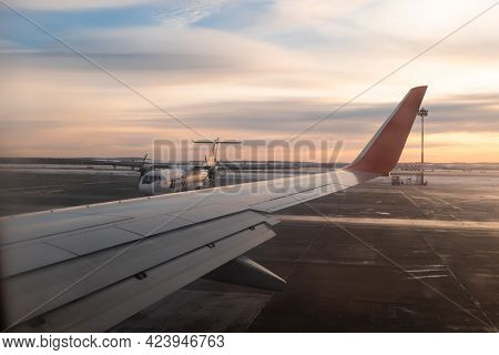 Yekaterinburg. Russia. 12/20/2020. View From The Airplane Window Of The Runway During Takeoff At Daw