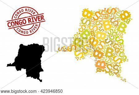 Distress Congo River Stamp Seal, And Financial Collage Map Of Democratic Republic Of The Congo. Red