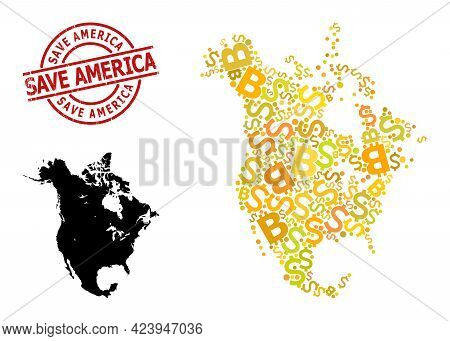 Grunge Save America Badge, And Finance Mosaic Map Of North America. Red Round Badge Contains Save Am