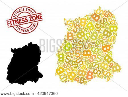 Distress Fitness Zone Stamp Seal, And Banking Mosaic Map Of Sikkim State. Red Round Stamp Seal Has F