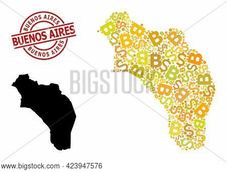 Scratched Buenos Aires Stamp, And Bank Collage Map Of Argentina - La Rioja. Red Round Stamp Contains
