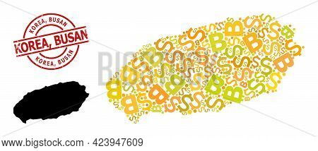 Textured Korea, Busan Stamp Seal, And Finance Collage Map Of Jeju Island. Red Round Stamp Seal Inclu