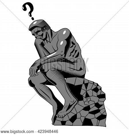 Stylized Thinker Statue.vector Illustration Isolated On White Background.