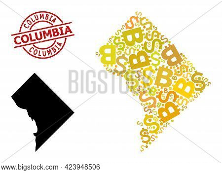 Rubber Columbia Stamp Seal, And Currency Collage Map Of District Columbia. Red Round Stamp Seal Has