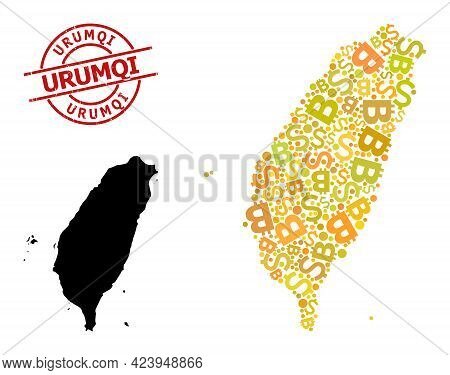 Scratched Urumqi Stamp, And Finance Mosaic Map Of Taiwan. Red Round Stamp Contains Urumqi Caption In