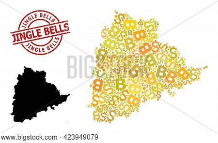 Distress Jingle Bells Seal, And Finance Collage Map Of Telangana State. Red Round Stamp Contains Jin