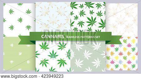 Set Of Cannabis Seamless Pattern. Bundle Of Marijuana Leaves Patterns. Hemp Leaf Gold And Green. Vec
