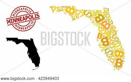 Rubber Minneapolis Stamp Seal, And Money Collage Map Of Florida State. Red Round Stamp Seal Includes