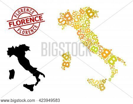 Rubber Florence Seal, And Finance Mosaic Map Of Italy. Red Round Stamp Seal Includes Florence Captio