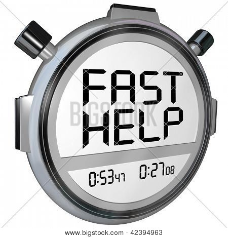 The words Fast Help on a stopwatch or timer representing quick action from customer support or service personnel to aid you in your problem or trouble