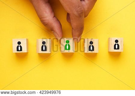 A Picture Hand Select The Worker With Green Colour Icon As Symbol Accept The Candidate. Job Hiring A