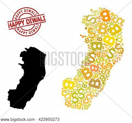 Textured Happy Diwali Stamp Seal, And Money Mosaic Map Of Espirito Santo State. Red Round Stamp Seal