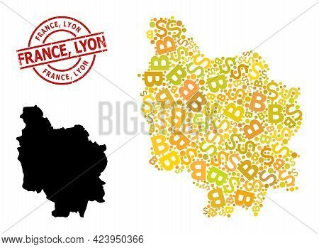 Rubber France, Lyon Stamp Seal, And Bank Collage Map Of Burgundy Province. Red Round Stamp Has Franc