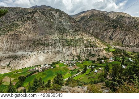 Lahaul valley with small mountain village in Himalayas. Himachal Pradesh, India