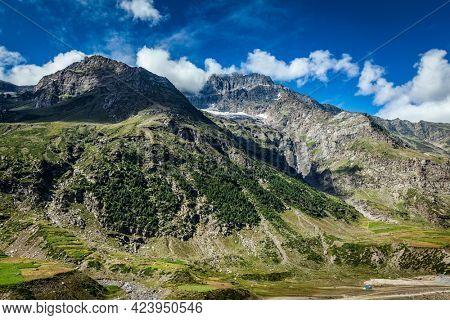 View of Lahaul valley in Himalayas. Himachal Pradesh, India