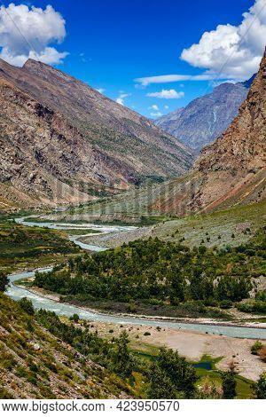 Chandra river in Lahaul valley in Himalayas. Himachal Pradesh, India