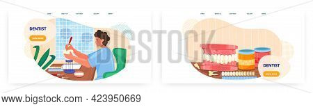 Dentist Landing Page Design, Website Banner Vector Template Set. Dentures, Dental Prosthetics. Ortho