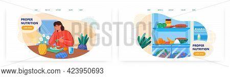 Proper Nutrition Landing Page Design, Website Banner Vector Template Set. Woman Enjoying Healthy Die