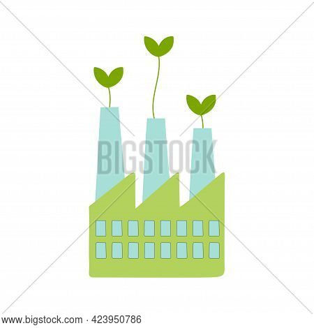 Green Industrial Factory. Eco Friendly Industry. Environmental Protection, Ecology, Saving The Plane