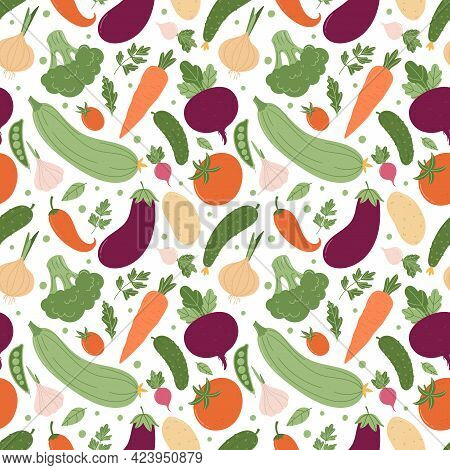 Seamless Pattern With A Variety Of Summer Vegetables. Colorful Vegetables In A Simple Cartoon Style