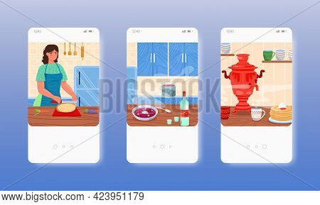 Russian Traditional Cuisine Borscht Blini Vodka. Mobile App Screens, Vector Website Banner Template.