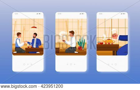 Business Tea Ceremony. Asian Culture, Tradition. Mobile App Screens, Vector Website Banner Template.
