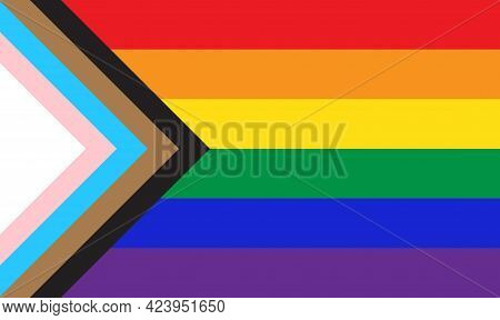 New Pride Flag Lgbtq Background . Redesign Including Black, Brown, And Trans Pride Stripes. Flat Vec