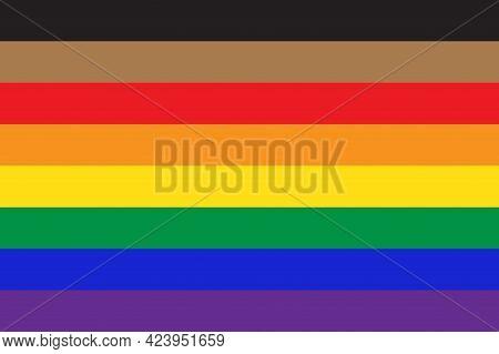 New Pride Flag Lgbtq Background . Redesign Including Black And Brown Stripes. Flat Vector Illustrati