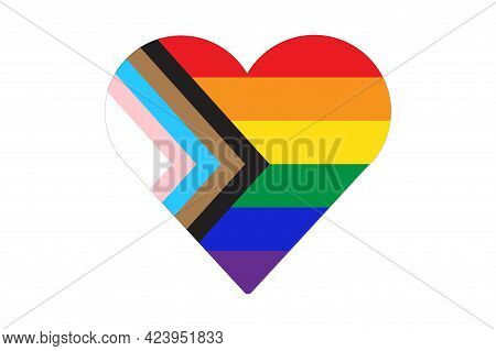 Heart Shape Icon Of New Pride Flag Lgbtq . Redesign Including Black, Brown, And Trans Pride Stripes.