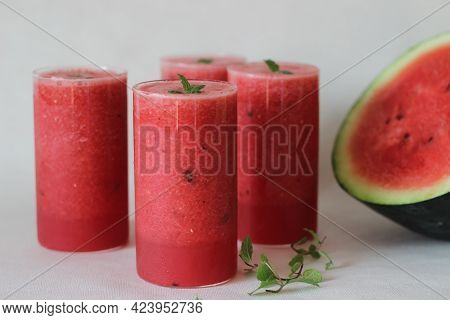 Fresh Watermelon Juice Prepared At Home. Its Good To Keep Your Body Cool From The Summer Heat.