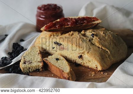 Slices Of Home Baked Irish Soda Bread With Raisins. A Quick Bread To Make At Home With Out Yeast. Se