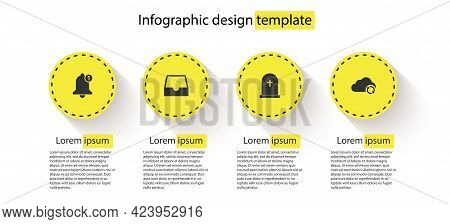 Set Bell, Social Media Inbox, Tombstone With Cross And Cloud Sync Refresh. Business Infographic Temp