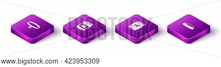 Set Isometric Collar With Name Tag, Canned Food For Cat, Bag Of Dog And Pet Bowl Icon. Vector
