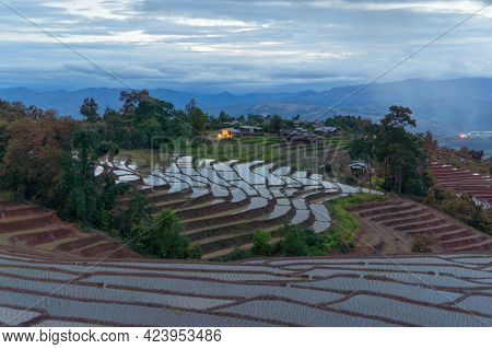 Paddy Rice Terraces With Water Reflection And Rain Storm, Green Agricultural Fields In Countryside,