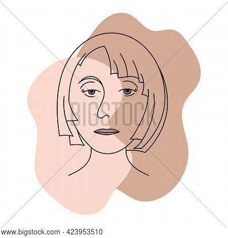 A Pensive, Sad Woman. Face People. Contour Hand Drawing. Vector Illustration, Portrait.