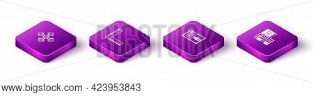 Set Isometric Pixel Arrows In Four Directions, Folding Ruler, Audio Book And Mall Or Supermarket Bui