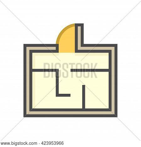 Floor Plan Or Floorplan Vector Icon Design In Top View. That Drawing Consist Of Room, Layout, Door I